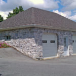2 car garage with stone