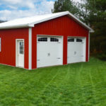 pole barn garage with 2 doors