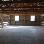 second story pole barn storage space and two windows